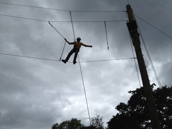 Cale on the high challenge course